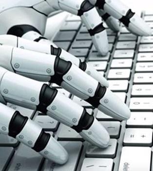 robot tecleando